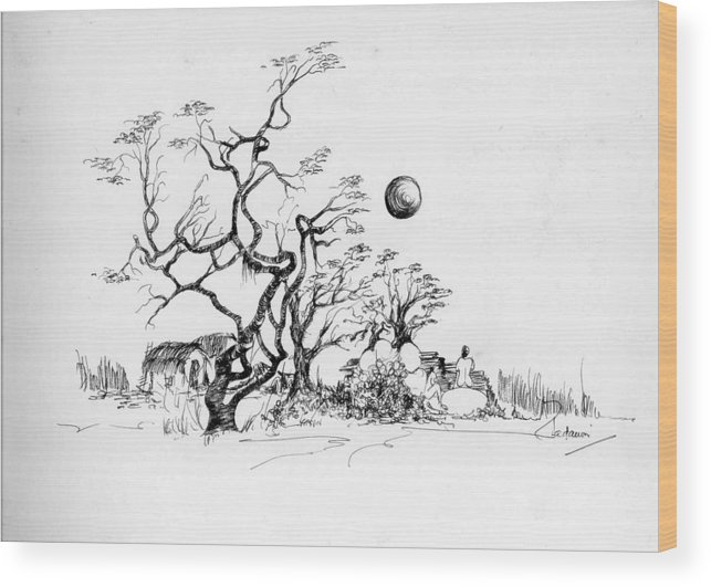 Landscape Wood Print featuring the drawing Trees Rocks And A Ball by Padamvir Singh