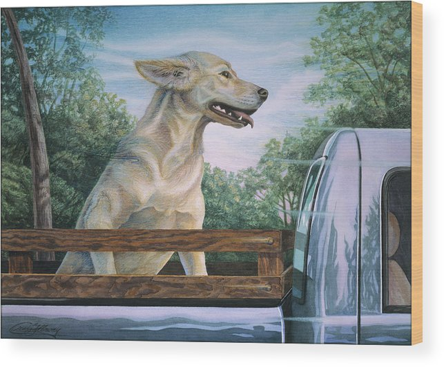 Dog In Truck Wood Print featuring the painting Truck Queen by Craig Gallaway