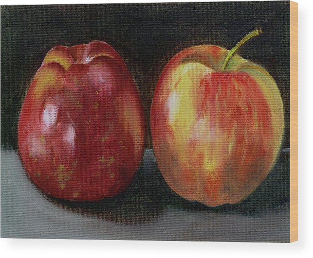 Oil Wood Print featuring the painting Two Apples by Sarah Lynch