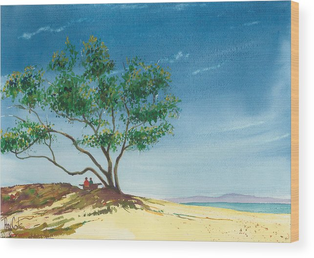Picnic At The Beach Wood Print featuring the painting Two At The Beach by Ray Cole