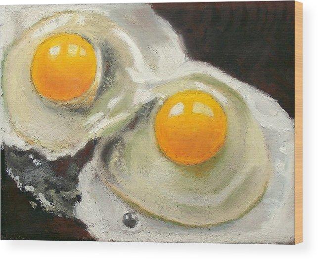 Eggs Wood Print featuring the pastel Two Eggs by Joyce Geleynse