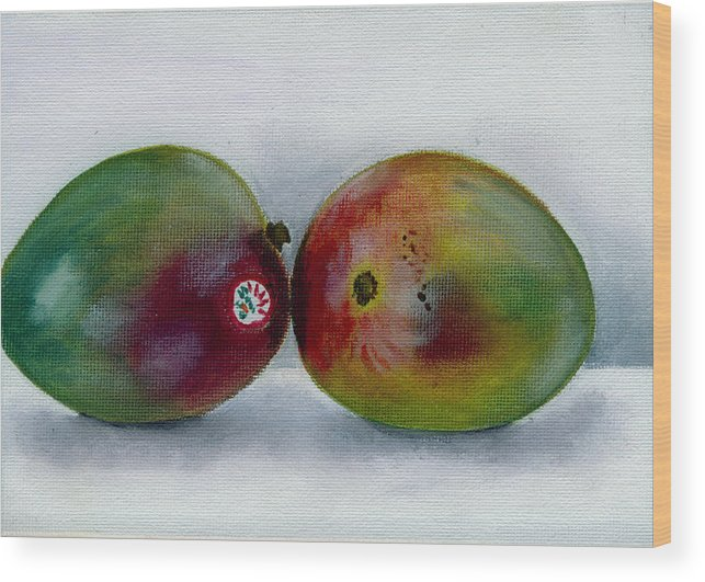 Still-life Wood Print featuring the painting Two Mangoes by Sarah Lynch