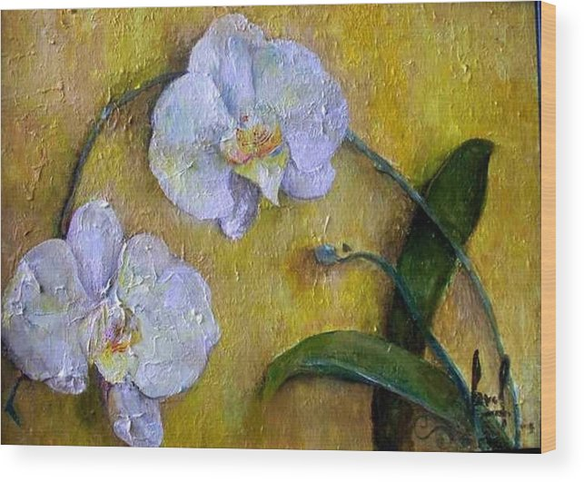 Wood Print featuring the painting Two White Orchids by Carol P Kingsley
