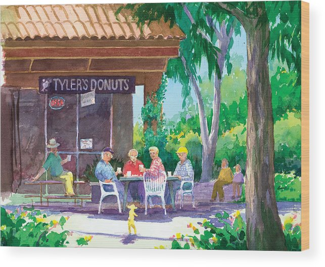 Old Men Wood Print featuring the painting Tylers Donuts by Ray Cole