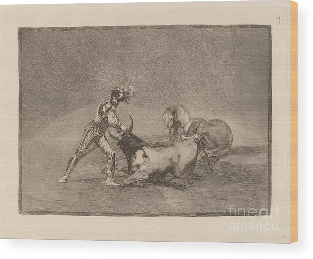 Wood Print featuring the drawing Un Caballero Espanol Mata Un Toro Despues De Haber Perdido El Caballo (a Spanish Knight Kills The Bull After Having Lost His Horse) by Francisco De Goya