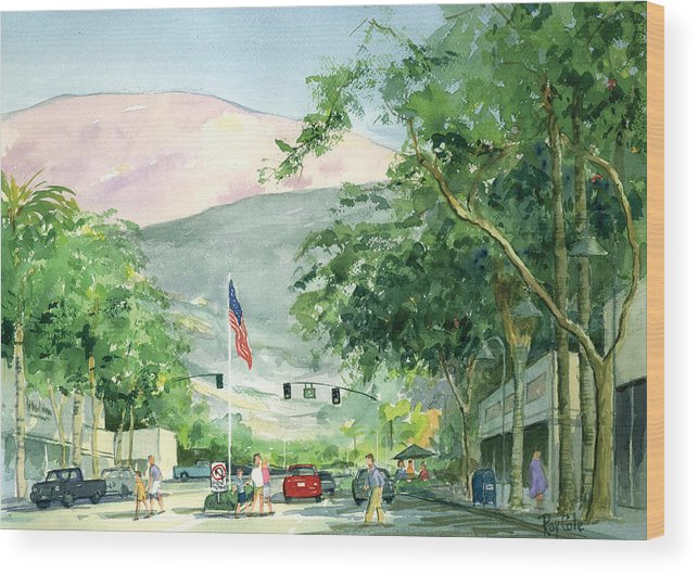 Main Street Wood Print featuring the painting Up Linden Avenue by Ray Cole