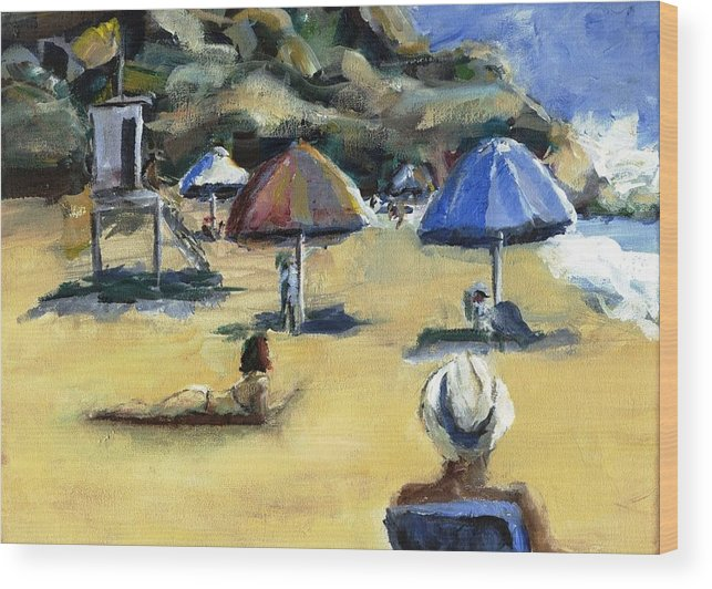 Umbrella Wood Print featuring the painting Victoria Beach White Hat by Randy Sprout