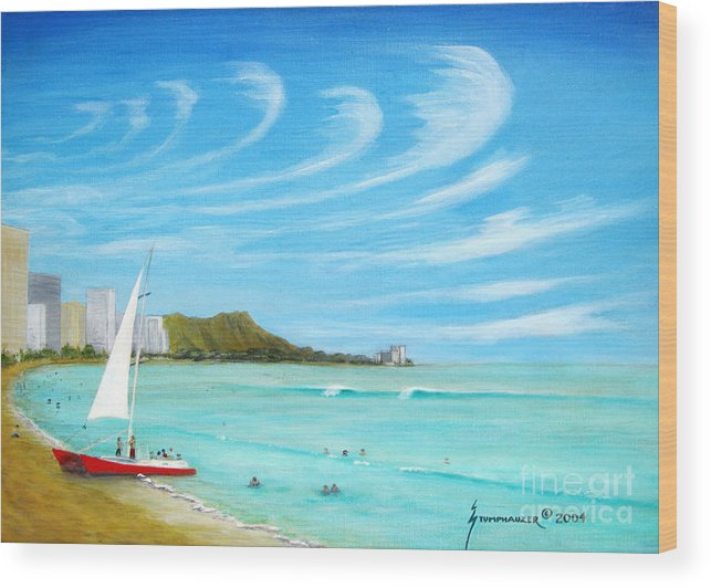 Waikiki Wood Print featuring the painting Waikiki by Jerome Stumphauzer