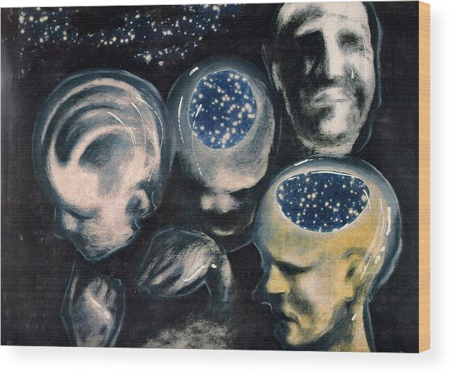 Universe Aura Thoughts Thinking Faces Mistery Wood Print featuring the mixed media We Are Universe by Veronica Jackson