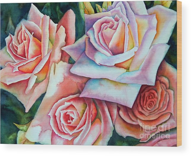 Floral Wood Print featuring the painting Wedding Roses by Gail Zavala