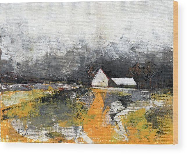 Landscape Wood Print featuring the painting Welcome Home by Aniko Hencz