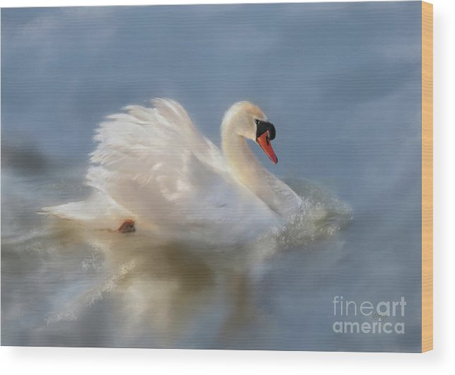Swan Wood Print featuring the digital art Wild Beauty Painted by Lois Bryan