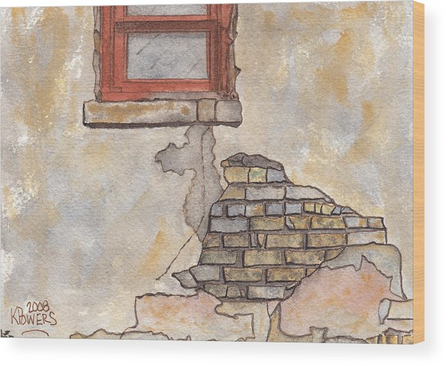 Window Wood Print featuring the painting Window With Crumbling Plaster by Ken Powers