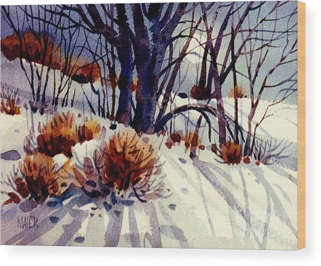 Snow Wood Print featuring the painting Winter Drifts by Donald Maier