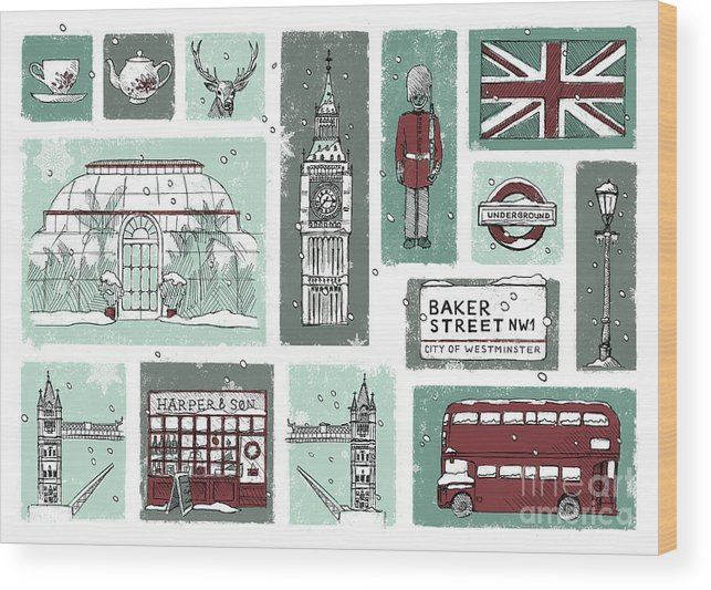 London Wood Print featuring the digital art Winter In London by Nazli Oluz