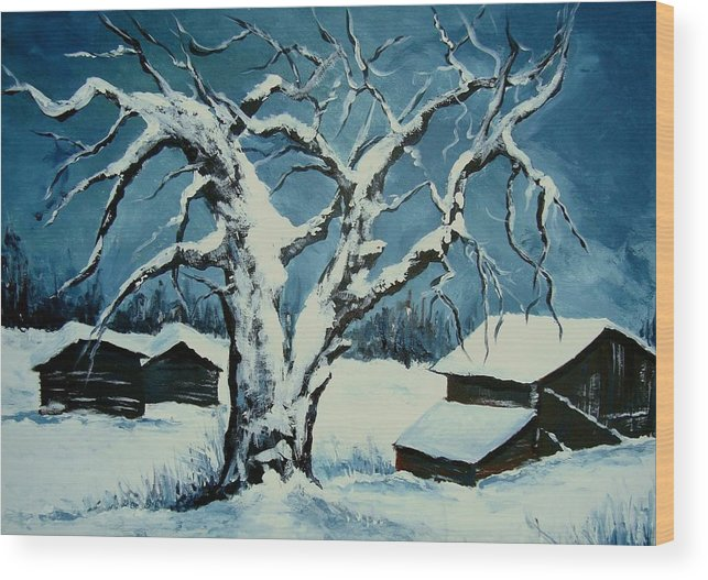Landscape Wood Print featuring the painting Winter Landscape 571008 by Veronique Radelet