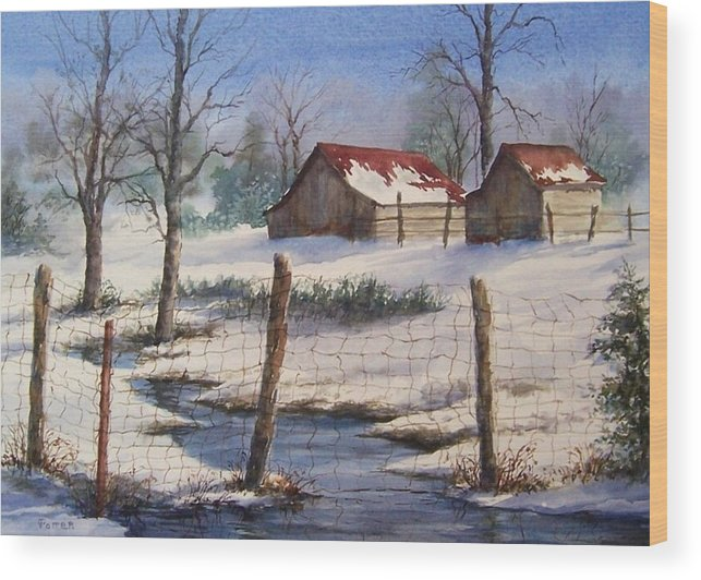 Winter Landscape Wood Print featuring the painting Winter Out Buildings by Virginia Potter