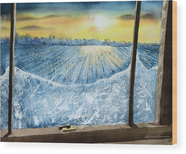 Landscape Wood Print featuring the painting Winter Window by Glenn Galen