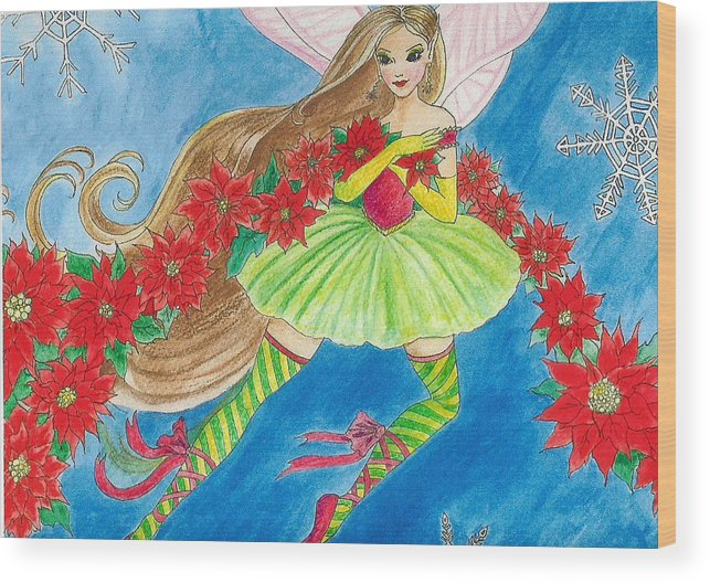 Fairy Brunette Christmas Poinsettia Snow Butterfly Ballerina Wood Print featuring the painting Winterfest by Hilary England