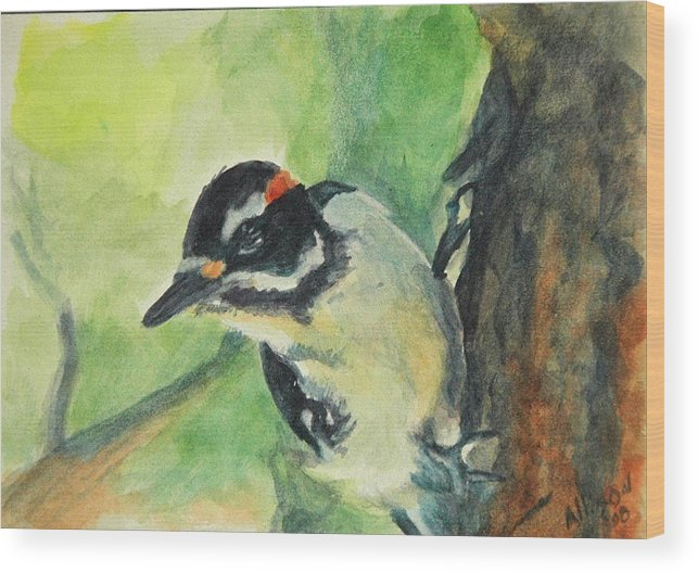 Wildlife Wood Print featuring the painting Woodpecker by Stephanie Allison