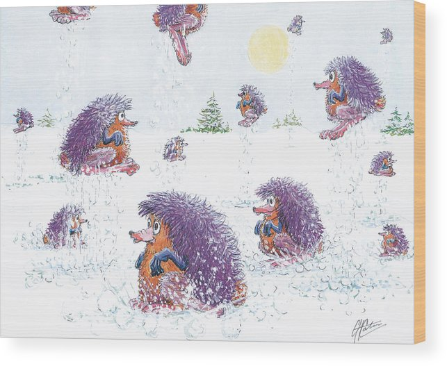 Creatures Wood Print featuring the drawing Woolly Snow Hoppers by Charles Cater
