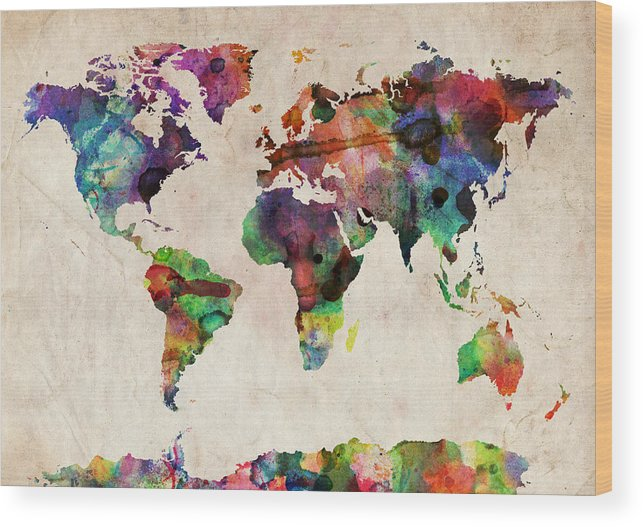 Map Of The World Wood Print featuring the digital art World Map Watercolor by Michael Tompsett