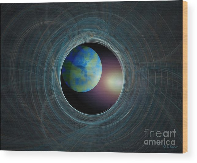 Digital Wood Print featuring the digital art Worlds Beyond by Sandra Bauser Digital Art