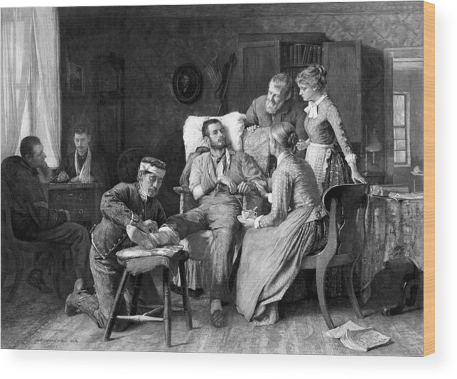 Wounded Soldier Wood Print featuring the drawing Wounded Soldier At The Battle Of Gettysburg by War Is Hell Store