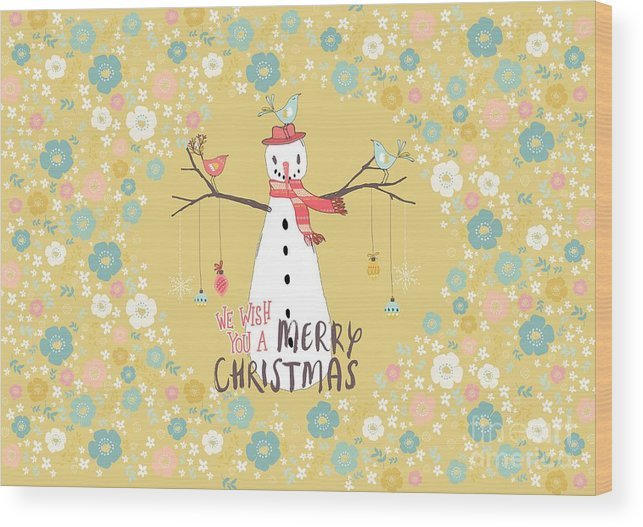 Snowman Wood Print featuring the mixed media Flower Power Christmas Snowman by Amanda Lakey