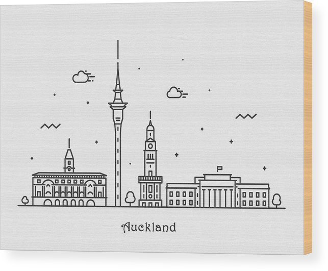Auckland Wood Print featuring the drawing Auckland Cityscape Travel Poster by Inspirowl Design