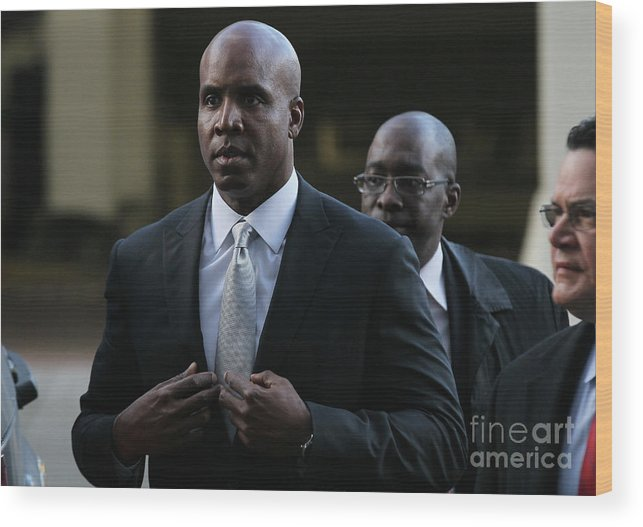 California Wood Print featuring the photograph Barry Bonds Perjury Trial Begins In San by Justin Sullivan