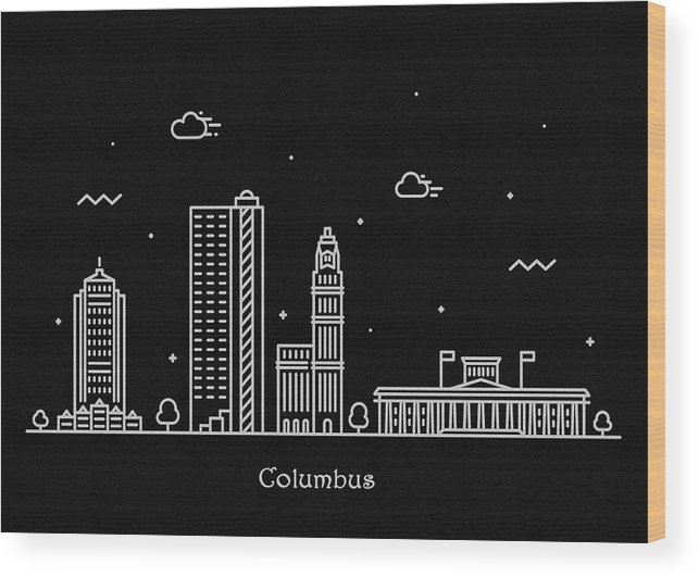 Columbus Wood Print featuring the drawing Columbus Skyline Travel Poster by Inspirowl Design