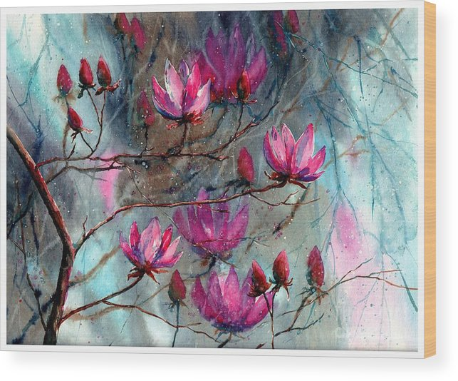 Night Wood Print featuring the painting Magnolia At Midnight by Suzann Sines