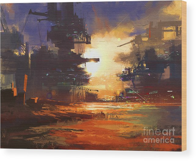 Fi Wood Print featuring the digital art Mega Structure In Sci-fi City At by Tithi Luadthong