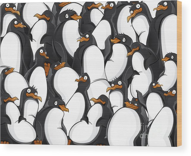 Mountains Wood Print featuring the digital art Penguins Pattern by Yuanden