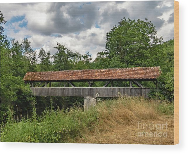 Rothenburg Bridge Wood Print featuring the photograph Rothenburg Covered Bridge by Norma Brandsberg