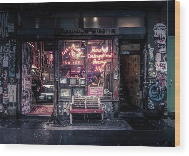 Boxing Wood Print featuring the photograph Underground Boxing Club Nyc by Nicklas Gustafsson