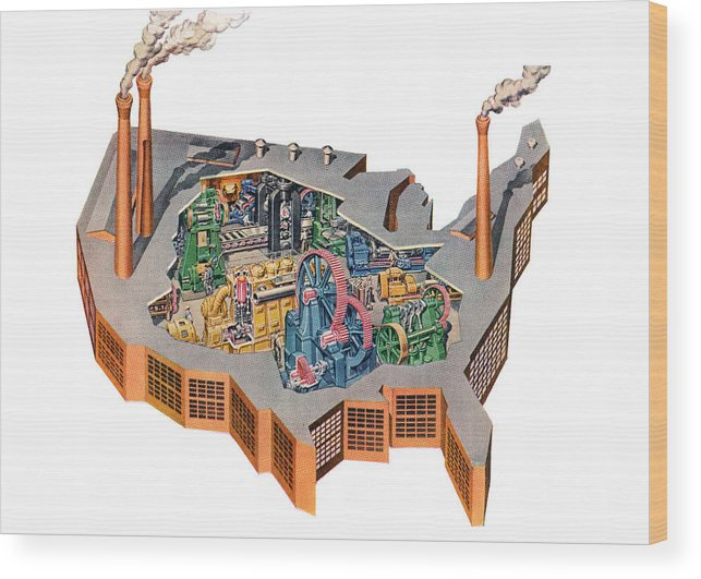 Us Map Artwork.Us Map As Industrial Factory Wood Print By Graphicaartis