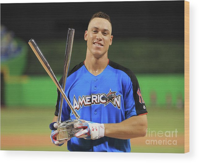 People Wood Print featuring the photograph Aaron Judge by Mike Ehrmann