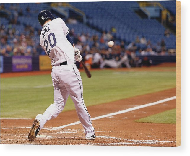 American League Baseball Wood Print featuring the photograph Desmond Jennings And Ben Zobrist by Brian Blanco