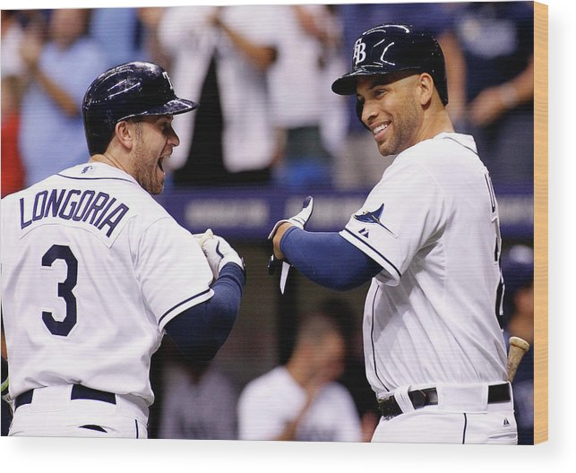 American League Baseball Wood Print featuring the photograph Evan Longoria And James Loney by Brian Blanco