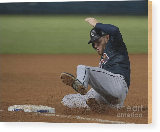 American League Baseball Wood Print featuring the photograph Freddie Freeman by Rick Yeatts