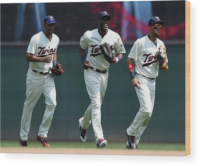 People Wood Print featuring the photograph Torii Hunter, Aaron Hicks, And Eddie Rosario by Hannah Foslien