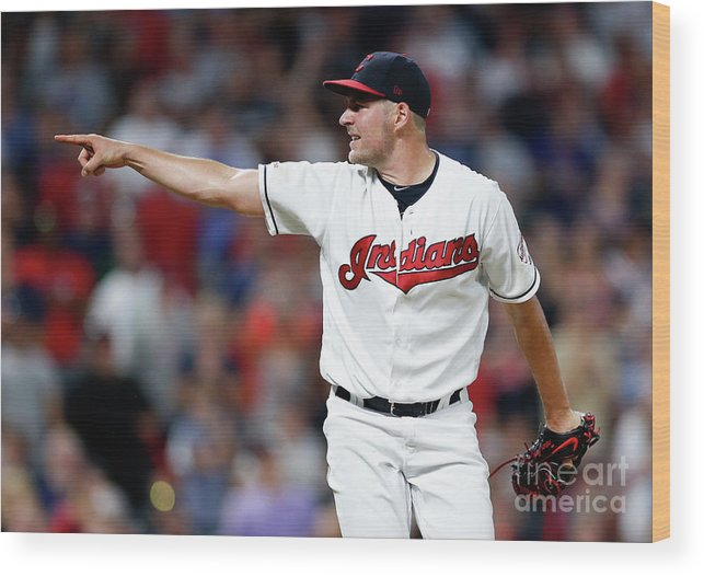 Three Quarter Length Wood Print featuring the photograph Trevor Bauer by Ron Schwane