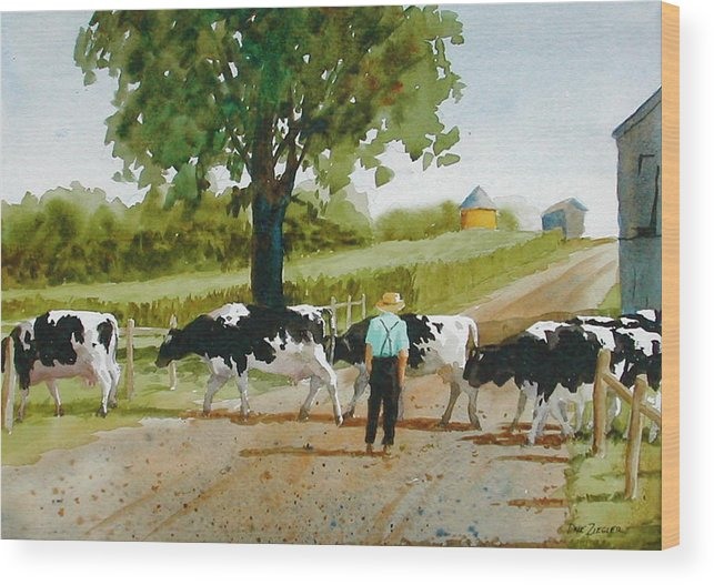 Cows Wood Print featuring the painting Cattle Crossing by Faye Ziegler