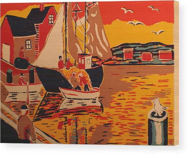 Wood Print featuring the painting Fishing Boat by Biagio Civale