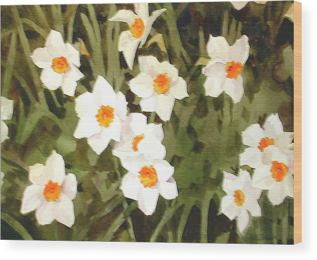 Spring Wood Print featuring the painting Jonquills by Faye Ziegler