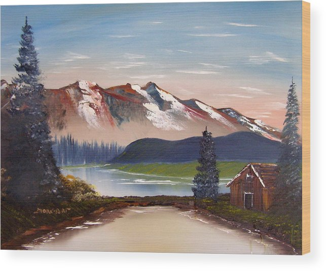 Landscape Wood Print featuring the painting Lonely Cabin In The Mountains by Sheldon Morgan