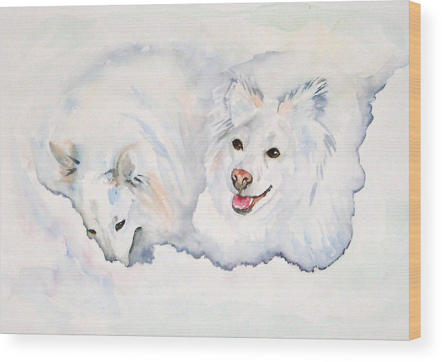 Canine Wood Print featuring the painting Numa And Amari by Gina Hall