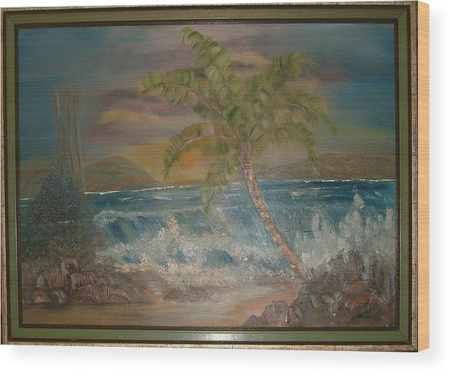 Seascape Wood Print featuring the painting Ocean Storm by Mikki Alhart